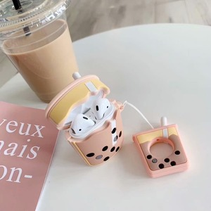 Image 2 - Wireless Bluetooth Earphone Case silicone soft bubble tea milk cream tea pattern case for airpods 1/2 BIA124
