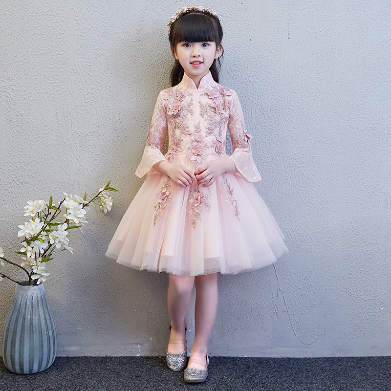 Fille princesse Piano enfants mariage traditionnel chinois nouvel an Costume Qipao Cheongsam rose anniversaire Oriental robe de soirée