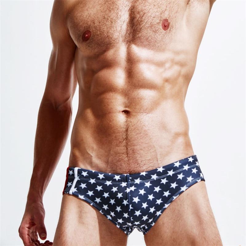 d9388b46d5 Men Swimwear Summer Stars Triangle Men's Swimming Trunks Plus Size Sunga  Masculina Swim Briefs Shorts maillot de bain homme