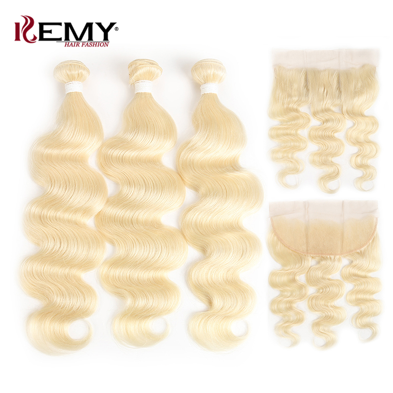 613 Blonde Brazilian Body Wave Human Hair Bundles With Frontal Kemy Hair Non Remy Hair Weaves Extension 3pcs Human Hair Bundles