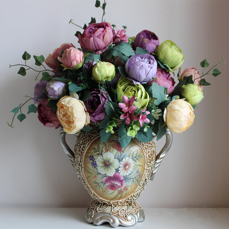 kunstig silke blomster europeisk 1 Bouquet Peony festival patriark plassert blomst for bryllup Home Party Decoration