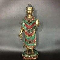 Азиатский Античная тибетский свинка Бирюзовый Медь статуя Будды/супер большой Размеры старый ручной инкрустированные драгоценными камням