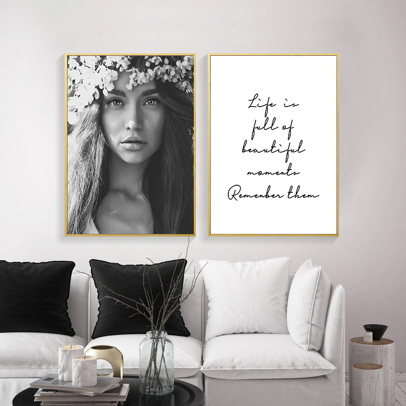 Admirable Us 2 81 46 Off Nordic Minimalist Black White Fashion Woman Art Canvas Print Quote Poster Wall Art Painting Decorative Picture Home Decor Dh2539 In Gmtry Best Dining Table And Chair Ideas Images Gmtryco