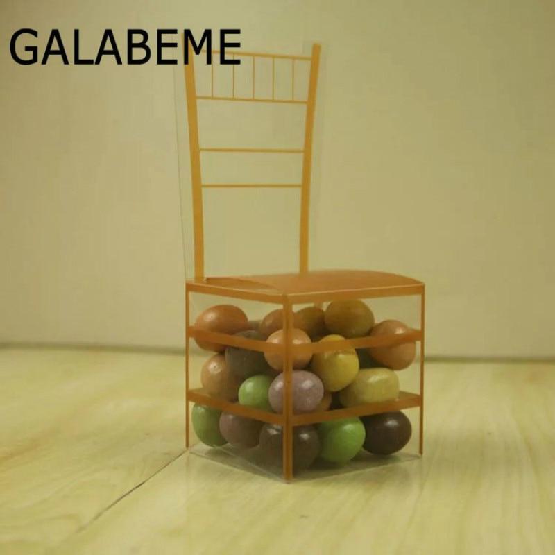 Romantisch Galabeme 100 St Nieuwe Transparante Gunst Stoel Vorm Gunst Dozen Plastic Dozen Pvc Dozen Clear Dozen Snoep Voor Party 50 Stks