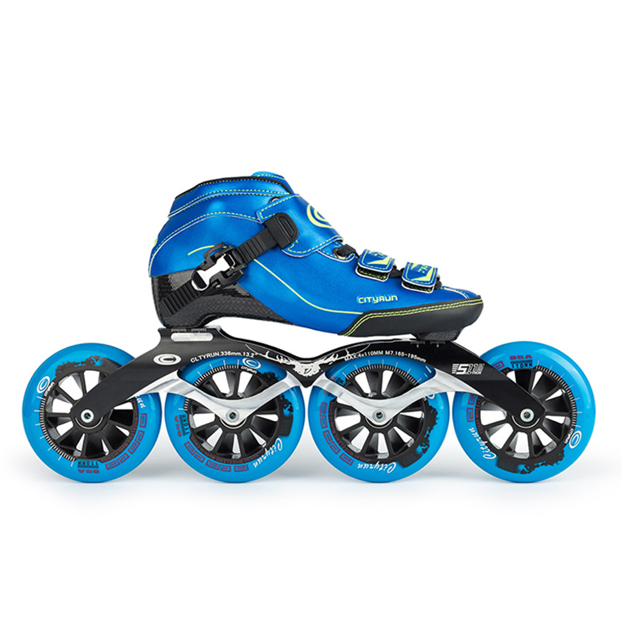 EUR size 32 43 Cityrun Speed Inline Skates Carbon Fiber Competition Skates 4 Wheels Street Racing