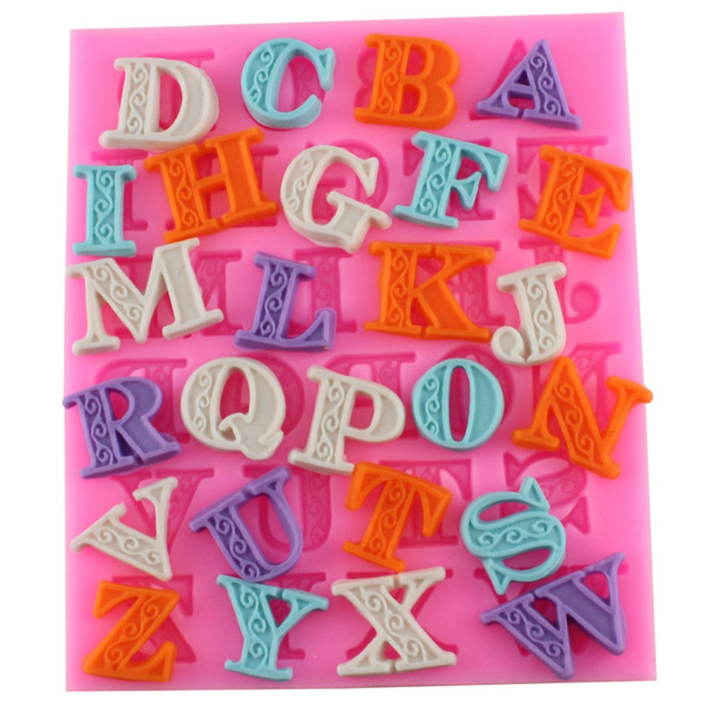 New Arrival Delicate Lace Letters Alphabet Silicone Biscuit Cake Molds Fondant Cookie Mousse Chocolate Mold DIY Cake Decoration