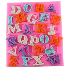 New Arrival Delicate Lace Letters Alphabet Silicone Biscuit Cake Molds Fondant Cookie Mousse Chocolate Mold DIY Decoration