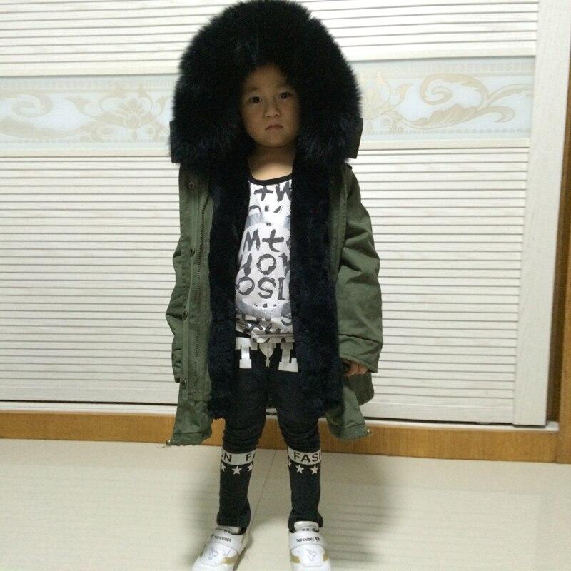 Little สาว/เด็กขนสัตว์ parka จริง fox ขนสัตว์แท้ขนสัตว์ outwear-ใน ขนสัตว์จริง จาก เสื้อผ้าสตรี บน   1