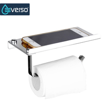 Stainless Steel Toilet Paper Holder With Towel Rack Phone Shelf  Toilet Roll Tissue Paper Holder Boxes Wall Mounted High Quality