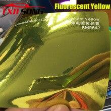 Nova chegada alta stretchable espelho fluorescente amarelo cromo espelho flexível vinil envoltório folha rolo filme etiqueta do carro decalque folha