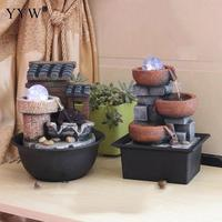 Chinese Creative House Indoor Water Fountains Feng Shui Resin Crafts Indoor Mountain Fountain Desktop Home Office Decor