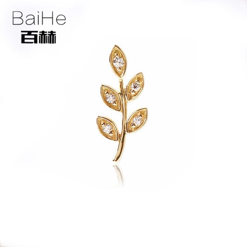 все цены на BAIHE Solid 14K Yellow Gold 0.16ct H/SI Round 100% Genuine Natural Diamonds Wedding Trendy Fine Jewelry Elegant Stud Earrings онлайн