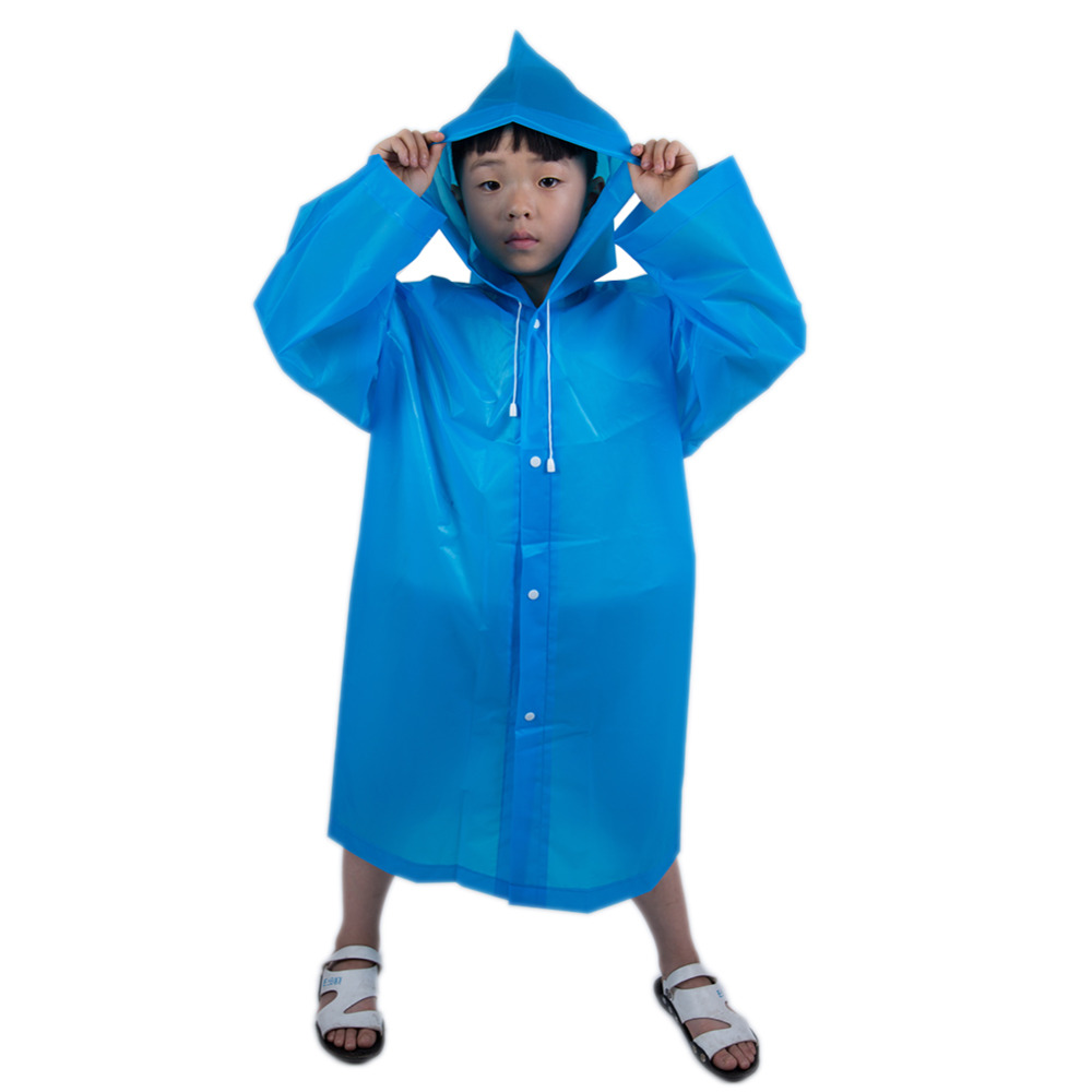 Image 3 - Fashion Frosted Child Transparent EVA Raincoat Girl Boy Rainwear Outdoor Hiking Travel Rain Gear Coat For Children-in Raincoats from Home & Garden