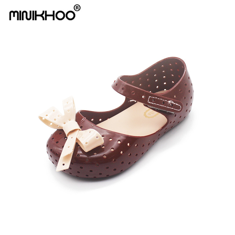 Mini Melissa Brands Bow Tie Cute Girls Jelly Sandals 2018 New Children Shoes Baby Lovely Sandals Breathable Princess Shoes