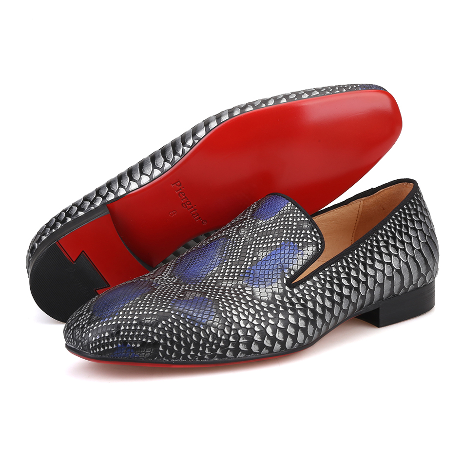 2019 new arrival Handmade men Genuine Leather shoes with Serpentine printing designs Party and Wedding men loafers male's flats