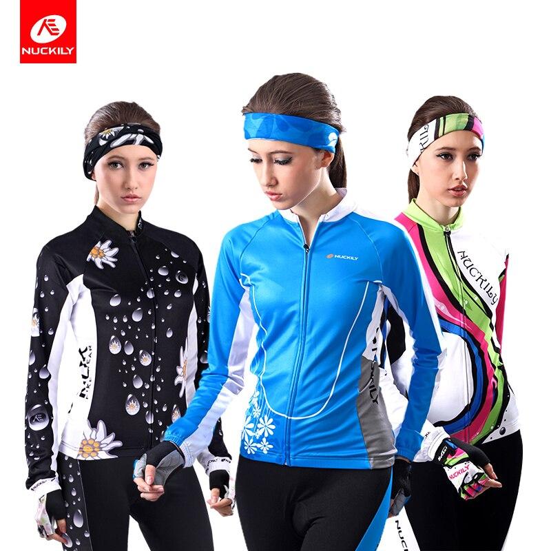 NUCKILY femmes veste de cyclisme hiver vêtements de vélo thermique polaire bleu vélo Jersey Cycle vêtements GE004