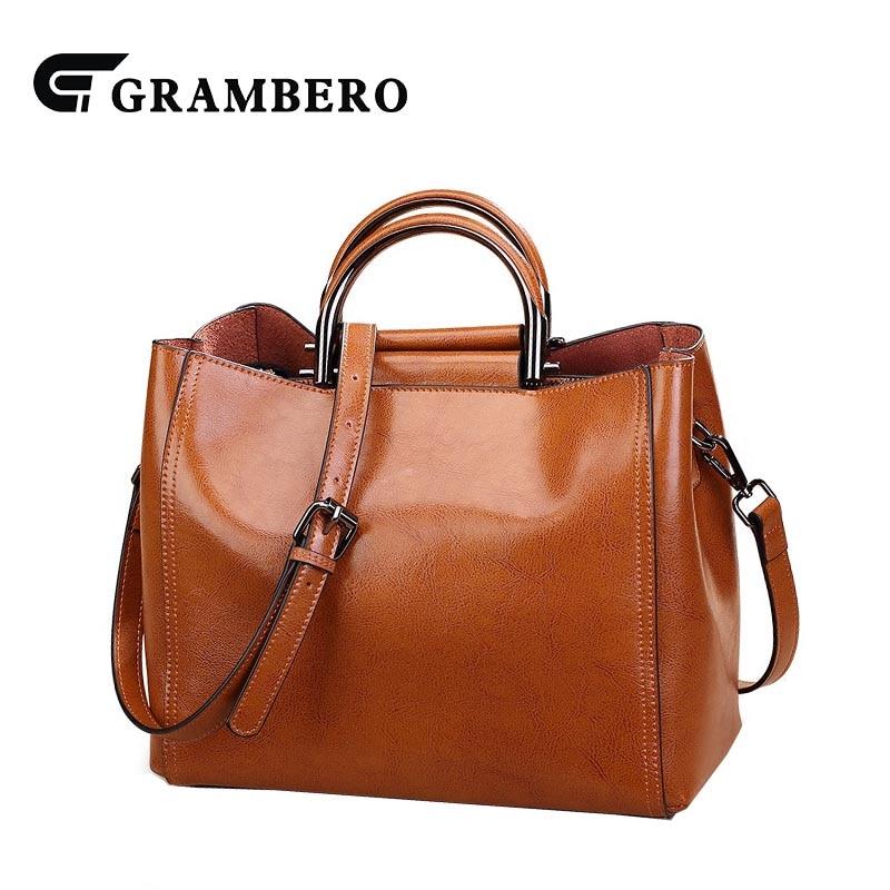 купить Fashion Lady Handbag Genuine Leather Oil Wax Split Leather Zipper Top-handle Bag Women Party Shoulder Crossbody Messenger Bags по цене 5759.5 рублей