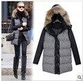 Nova Europa inverno capuz de algodão casaco feminino das mulheres magras calças de couro com zíper de algodão-acolchoado mulheres longa jaqueta de inverno parka