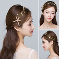 Corea del tocado de novia starfish Novia accesorios cabeza de flor hojas de oro de la cadena suave del pelo del hilado de la boda el matrimonio