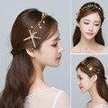 Korean bridal headdress starfish Bride wedding  golden leaves soft chain yarn hair accessories head flower marriage