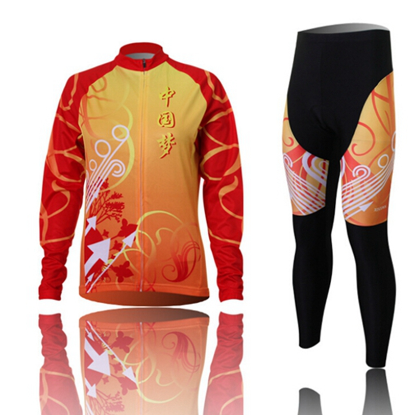 Hot XINTOWN Women Bike Long jersey Pants Chinese Dream Pro Team Cycling clothing Riding Top MTB Wear Long Sleeve Shirts