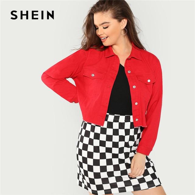 93c30a240261 SHEIN Streetwear Plus Size Frayed Hem Red Cotton Crop Denim Jacket Women  2018 Fashion High Street Autumn Short Jean Jackets