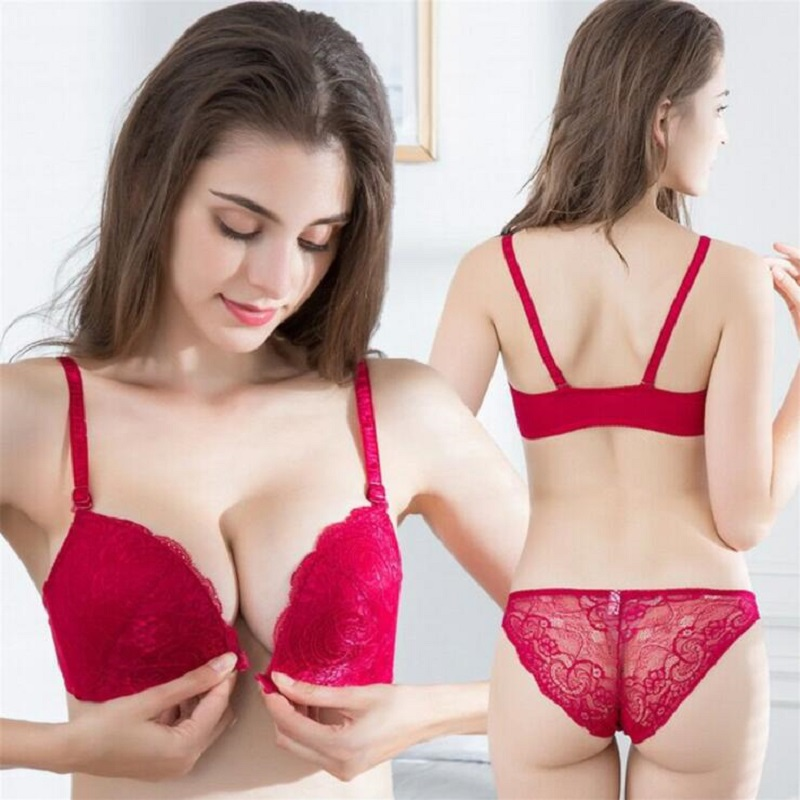 e59d55b45 sexy lingerie push up bra set Lace Underwear set wire free Front buckle  brassiere 3 4 cup bra and panty set lenceria mujer