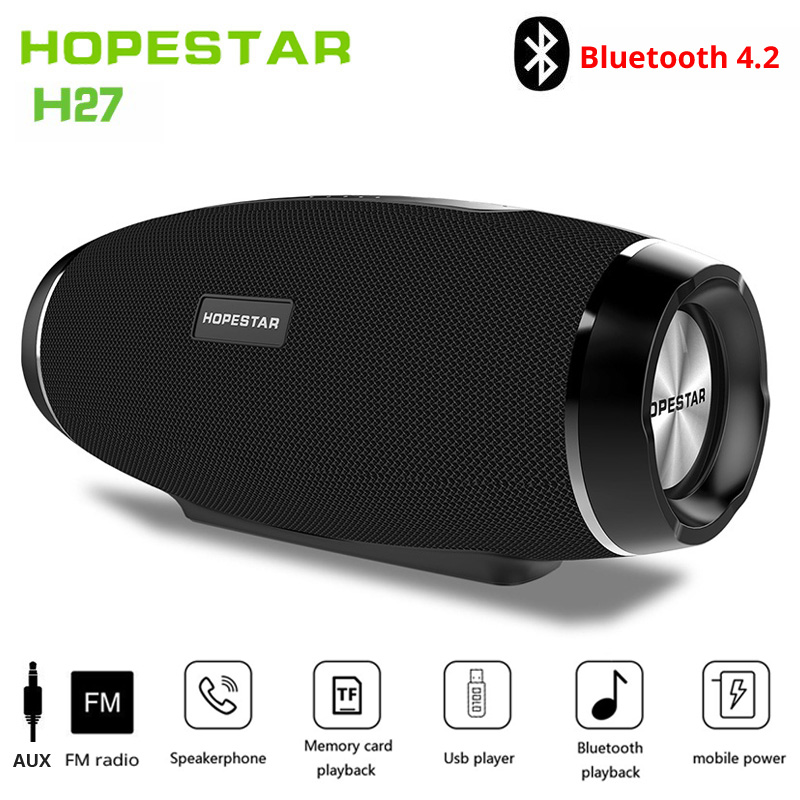 Hopestar wireless column bluetooth speaker stereo bass Subwoofer computer2.1 sound box waterproof FM radio USB Mp3 music boombox-in Portable Speakers from Consumer Electronics