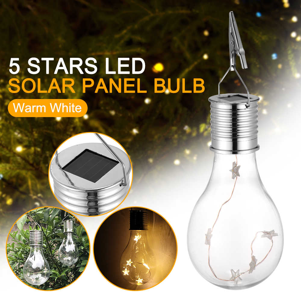 Rotatable Solar LED Light Outdoor Garden Camping Hanging Lamp Bulb Waterproof