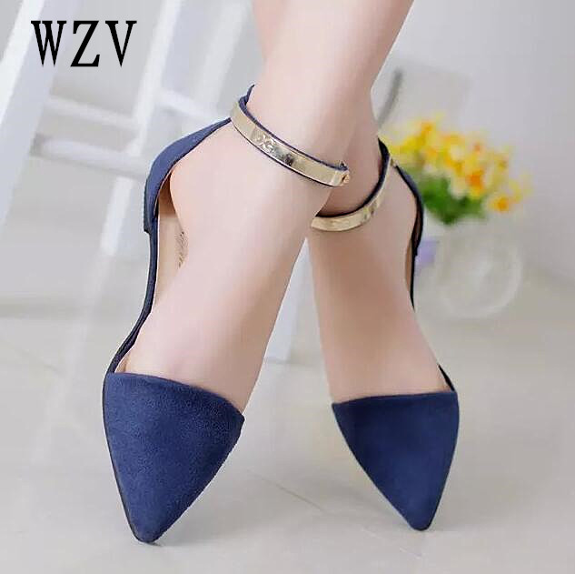 New Women Suede Flats Fashion High Quality Basic Mixed Colors Pointy Toe Ballerina Ballet Flat Slip On women Shoes Ankle Strappy new fashion woman flats spring summer women shoes top quality strappy women sandals suede pointed toe gladiator ballet pumps