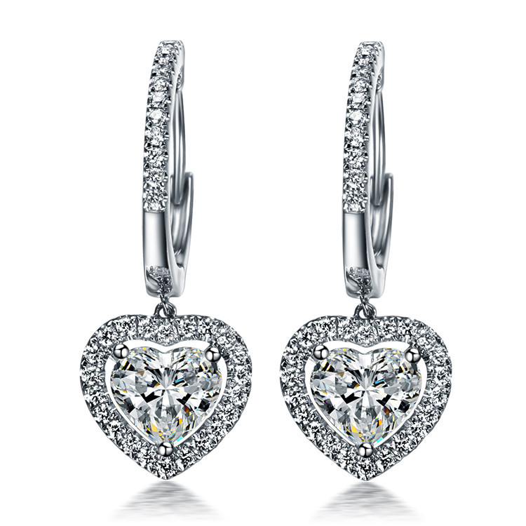TE210 Luxury 1 5 Carats SONA Synthetic Gem Halo Studded Wedding Earrings Promise Propose Earring heart