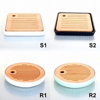 Kinds Bamboo Tea Plate Ceramic Water Storage Holder Gongfu Serving Tray Drawer