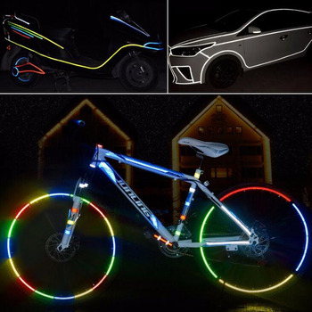 8 Pcs Reflector Fluorescent Car MTB Bike Light Sticker Cycling Wheel Rim Reflective Stickers Decal Car Accessories image