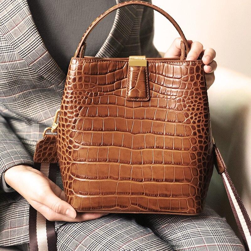 럭셔리 악어 패턴 전체 정품 가죽 핸드백 여성 가방 디자이너 여성 숄더 가방 브랜드 디자인 빈티지 양동이 가방-에서숄더 백부터 수화물 & 가방 의  그룹 1