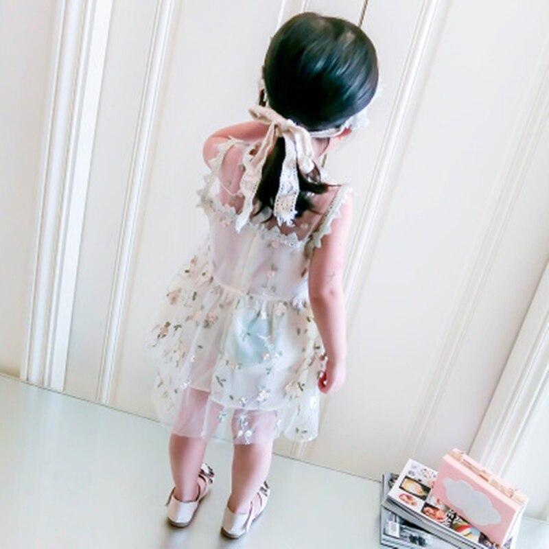Sukienka dziewczęca 2018 Nowa letnia siatkowa odzież dziewczęca - Ubrania dziecięce - Zdjęcie 2