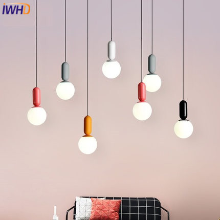 IWHD Glass Ball Modern Pendant Lights Led Aluminum Hanging Lamp Home Lighting Fixtures Hanglamp Dining Room kitchen Luminaire