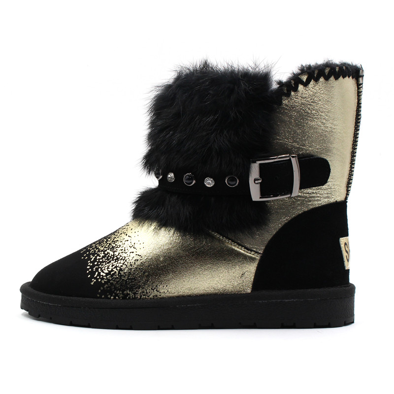 43 Gold Mujeres Tobillo Tamaño 34 silver Invierno Plata Nieve Fun Mujer Para Lana Moda Botas Piel Ville Zapatos Nueva Oro Real Calientes TwqaPHR