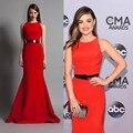 Celebridade inspirado vestidos Lucy Hale 2014 CMA prêmios tapete vermelho sereia Vestido de cetim sereia Vestido de baile Vestido sereia