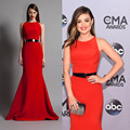 Celebrity Inspired Dresses Lucy Hale 2014 CMA Awards Red Carpet Mermaid Evening Gown Satin Mermaid Prom Dress Vestido sereia