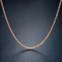 Italy Solid AU750 Rose Gold Necklace Chain Women Rope Necklace Chain