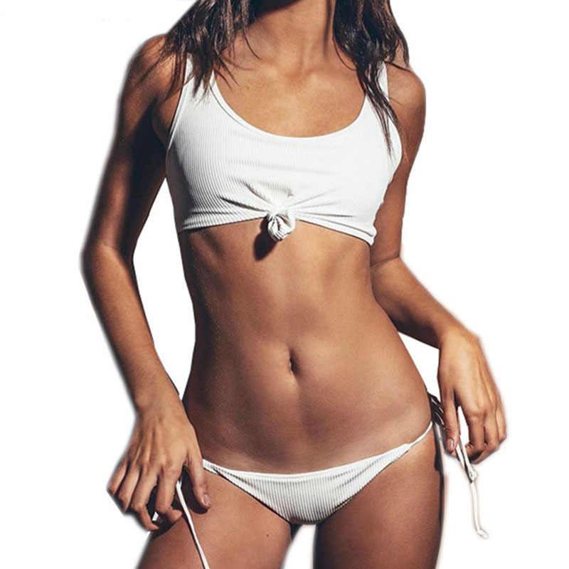 2019 Для женщин Бразильское бикини Praia купальный костюм бикини трикини Винтаж купальник в стиле ретро бандажные стринги купальники