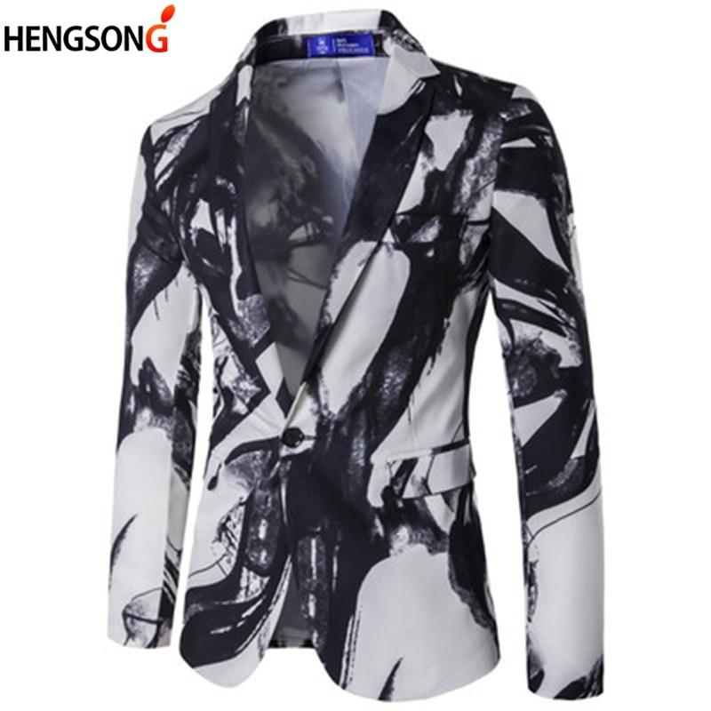Flight Tracker Marke Männlichen Anzug Blazer Einzigen Taste Tinte Drucken Herren Blazer Jacke Chinesischen Stil Flamme Druck Vintage Anzüge Luxus Formale Kleid