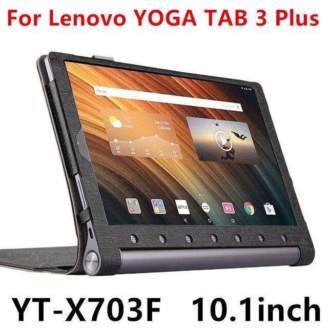 Case Для Lenovo Yoga Tab 3 Плюс Защитные Смарт Кожаный чехол Tablet For YOGA TAB3 Плюс YT-X703F 10.1 дюймов PU Protector Рукава
