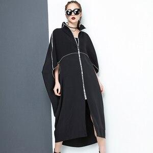 Image 5 - [EAM] 2020 nouveau printemps col montant à manches longues noir lettre fermeture éclair irrégulière grande taille solide robe femmes mode marée JE65001