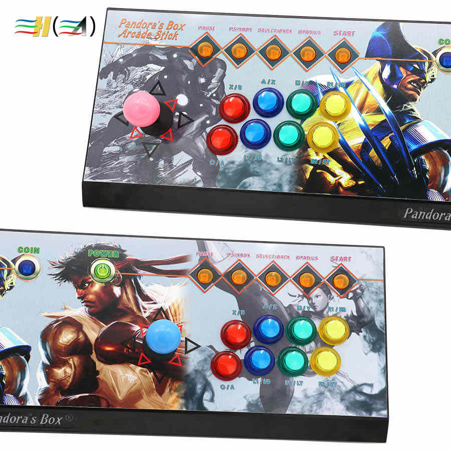 Pandora Box 6 1300 in 1 8 button arcade console kit arcade 2 players  joystick led button can add 3000 games usb joystick for pc