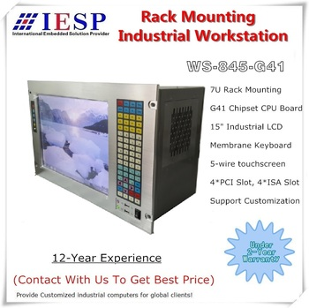 "19"" 7U Rack Mount Industrial Workstation, 15"" LCD, With touchscreen, G41 Chipset, E5300 CPU, 4GB RAM, 500GB HDD, 4*PCI, 4*ISA"