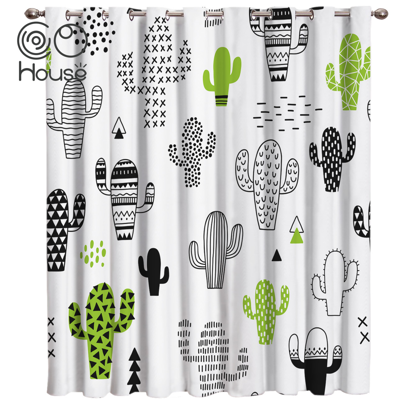 CoCoHouse Cute Graffiti Green Cactus Window Treatments Curtains Valance Window Blinds Kitchen Floral Drapes Decor