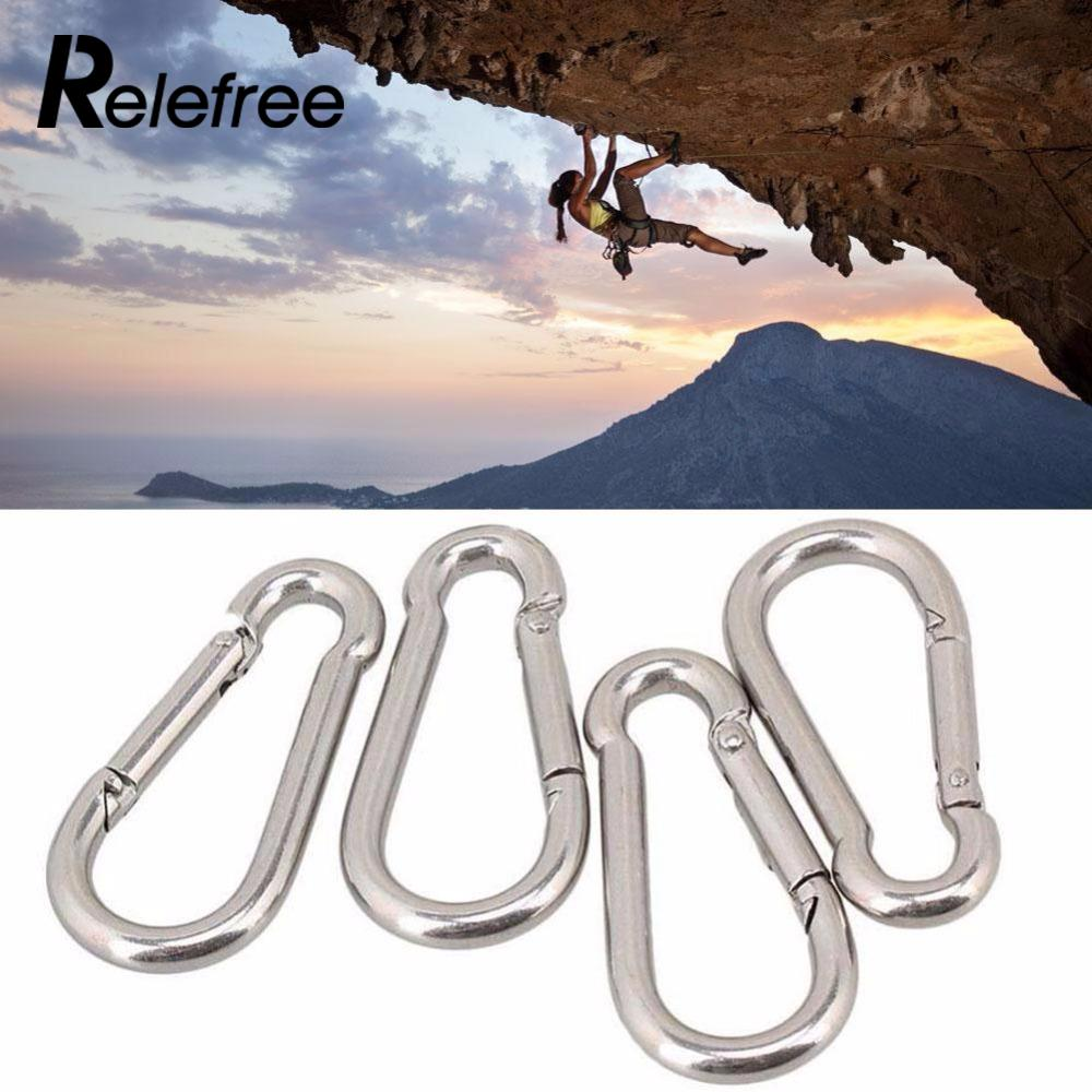 2017 Mountaineering Buckle 304 Stainless Steel Backpack Hanging Nut Buckle Camping Outdoor Lock Carabiner Clip Hook KeyChain vintage durable stainless steel carabiner clip with spring keychain silver