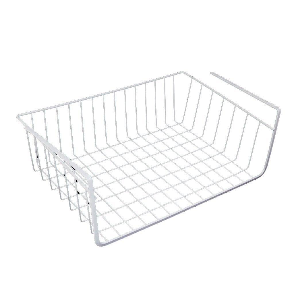 Storage Space Under Shelf Basket For Storage Bookcase Closet Kitchen - White