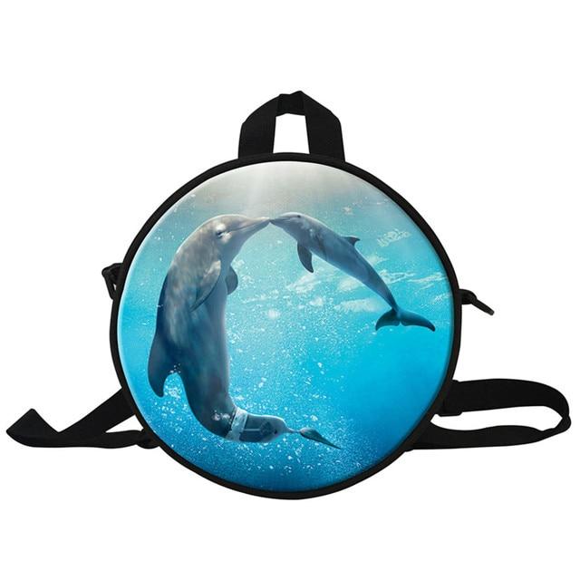 Cute Dolphin Children Round Backpack For Kids Animal Little Girls Shoulder Bag School Kindergarten Book Bags